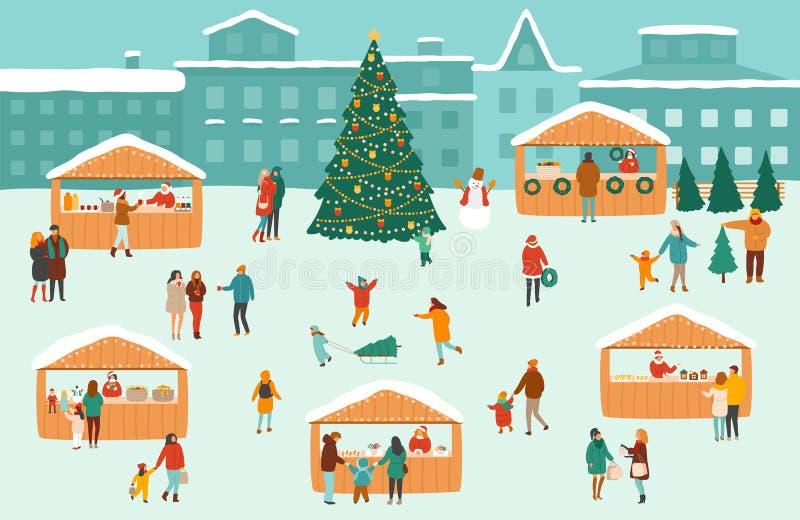 Wektorowa ilustracja Bożenarodzeniowy rynek wakacyjny plenerowy jarmark na rynku lub ilustracja wektor