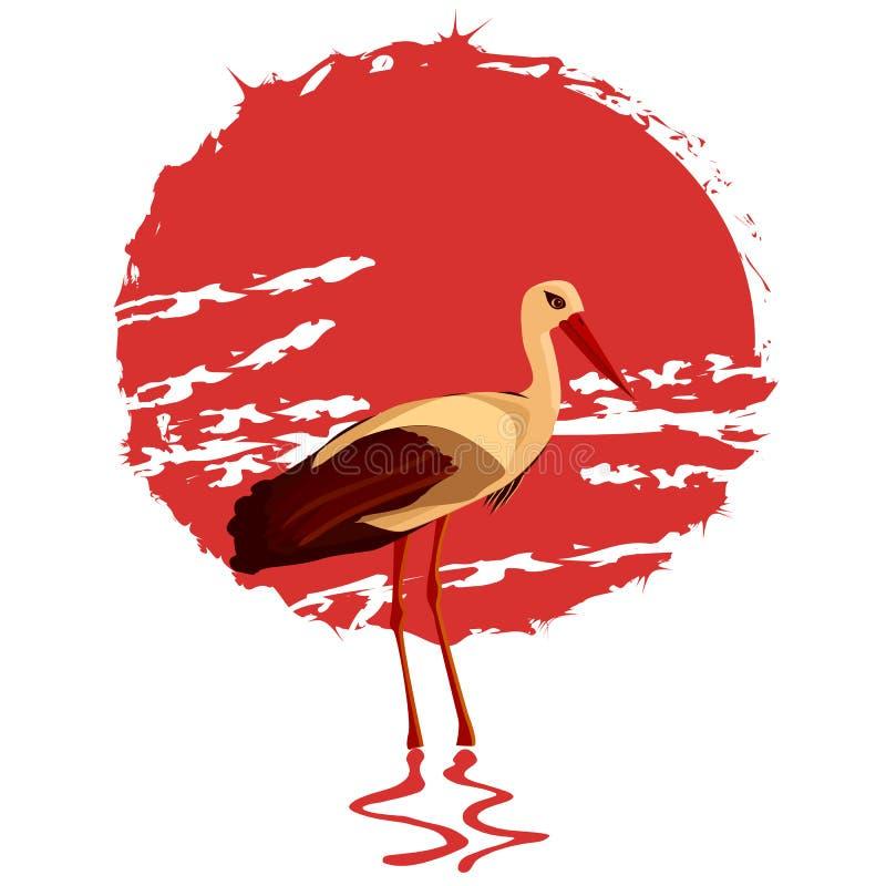 Wektorowa ilustracja bocian na czerwonym słońca tle royalty ilustracja