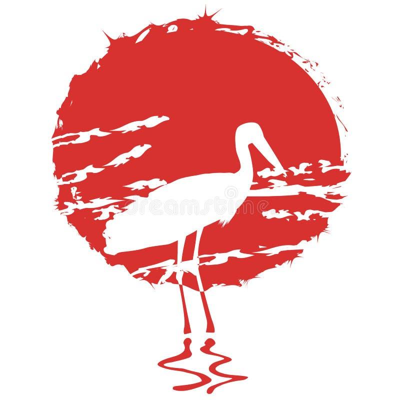 Wektorowa ilustracja bocian na czerwonym słońca tle ilustracja wektor