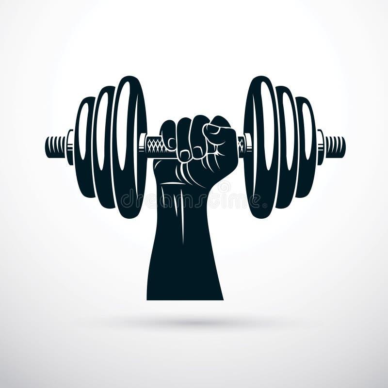 Wektorowa ilustracja bodybuilder r?ki mienia mi??niowy dumbbell ilustracja wektor