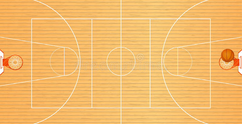 Wektorowa ilustracja boisko do koszykówki, odgórny widok, piłka w koszu, turnieju teren, drużynowy sport ilustracji