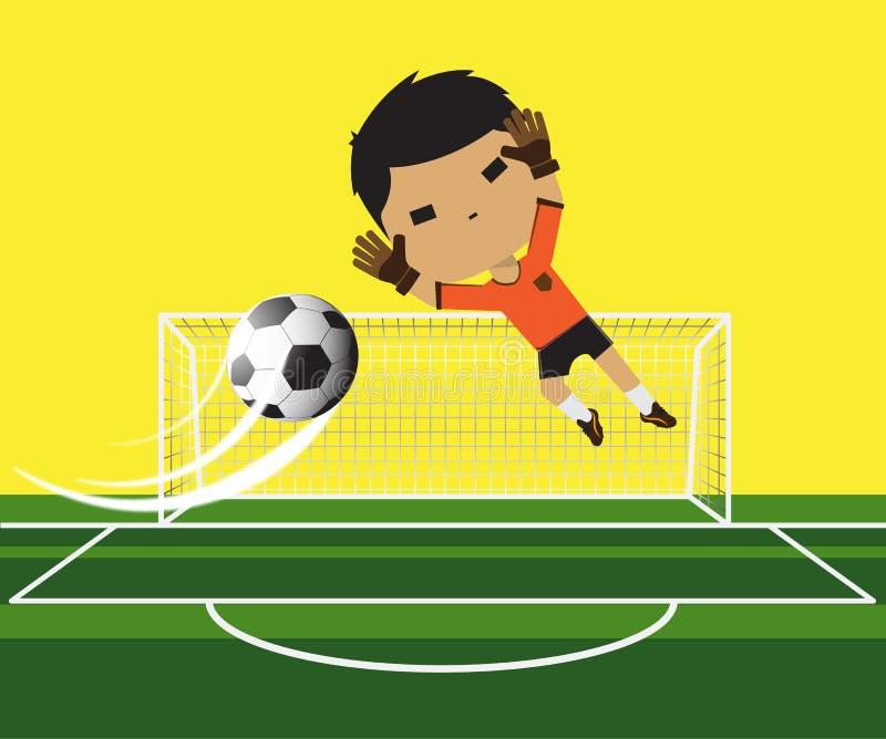 Wektorowa ilustracja bramkarz chłopiec próbuje łapiący piłkę na futbolowej bramie ilustracja wektor