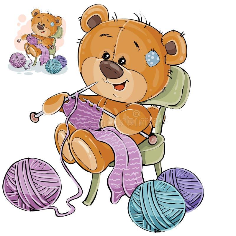 Wektorowa ilustracja brown miś siedzi na dzianiu i krześle coś z dziewiarskimi igłami, rękodzieła ilustracja wektor