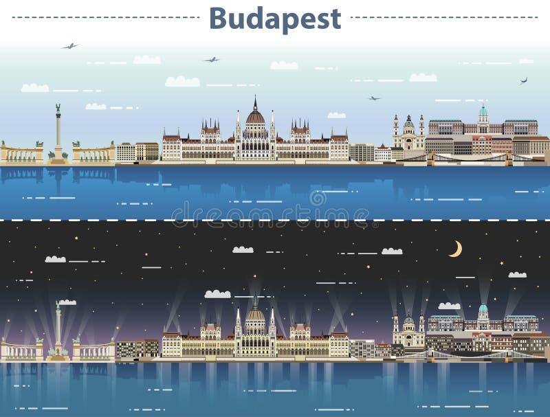 Wektorowa ilustracja Budapest miasta linia horyzontu przy dniem i nocą ilustracji
