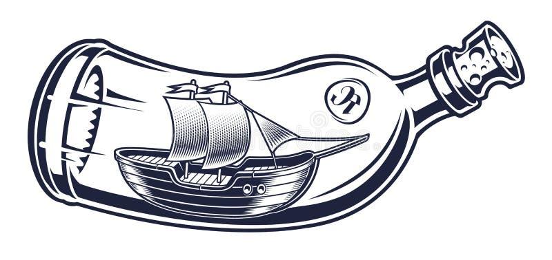 Wektorowa ilustracja butelka z statkiem ilustracji