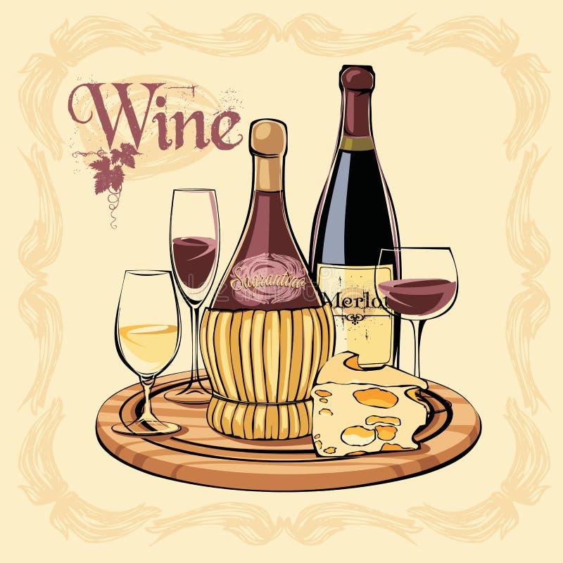 Wektorowa ilustracja butelki, szkła i ser wina, ilustracji