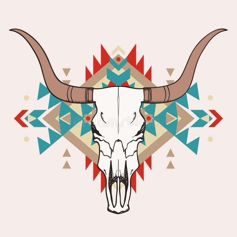 Wektorowa ilustracja byk czaszka z etnicznym ornamentem royalty ilustracja