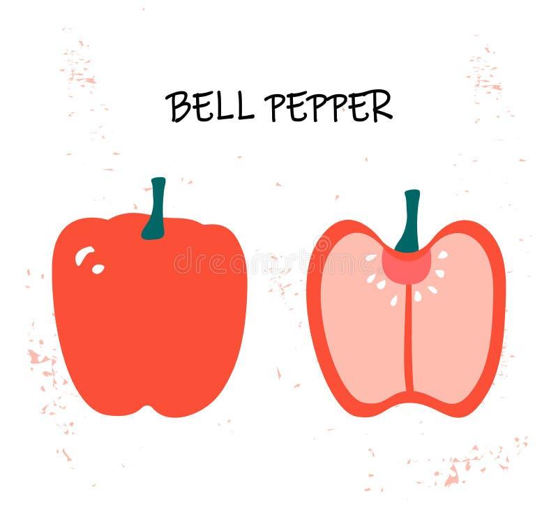 Wektorowa ilustracja capsicum - czerwony dzwonkowy pieprz ilustracji