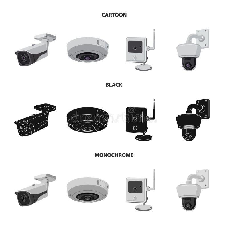 Wektorowa ilustracja cctv i kamery symbol Kolekcja cctv i systemu akcyjna wektorowa ilustracja ilustracja wektor