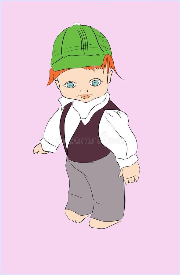 Wektorowa ilustracja chłopiec jest ubranym starego lala kostium stara zabawka, troszkę fotografia stock