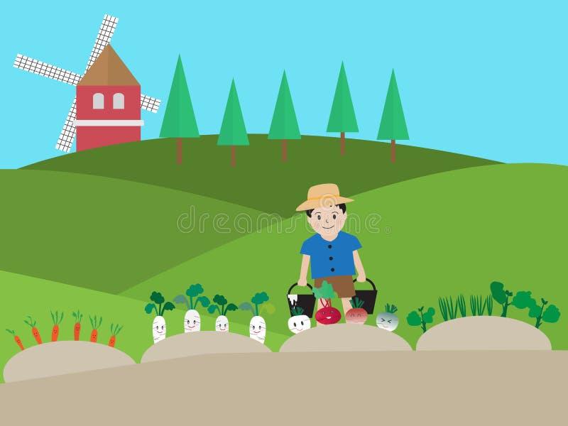 Wektorowa ilustracja chłopiec podlewania warzywo royalty ilustracja