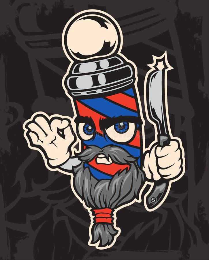 Wektorowa ilustracja charakteru fryzjer męski na ciemnym tle ilustracja wektor