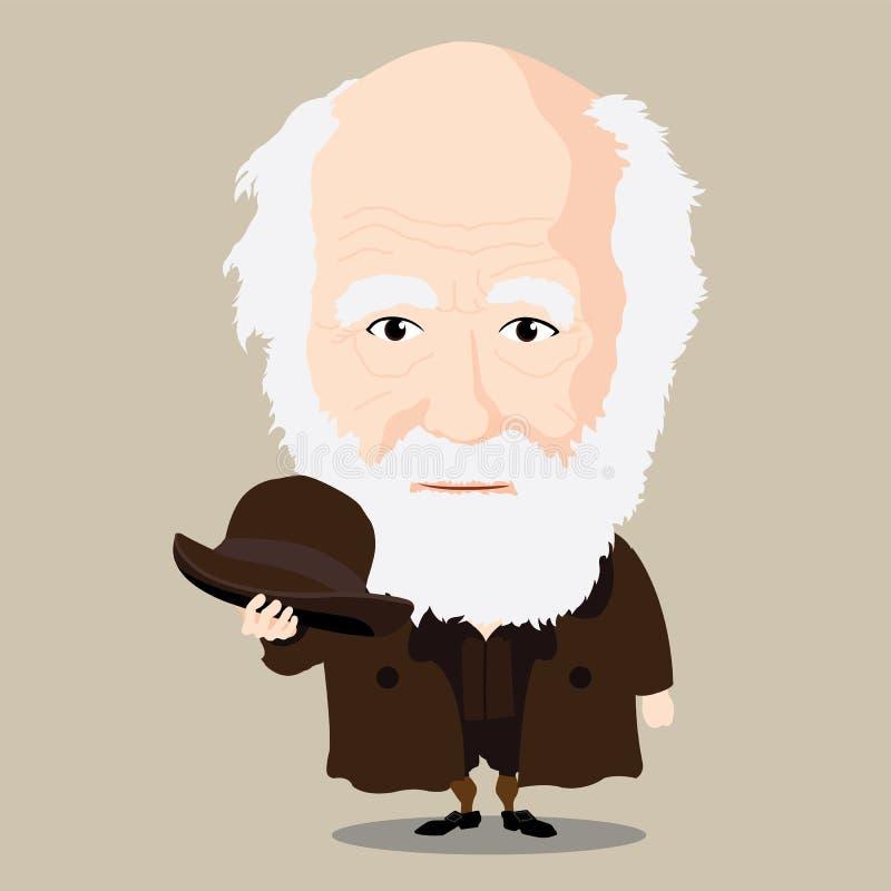 Wektorowa ilustracja - Charles Darwin ilustracji