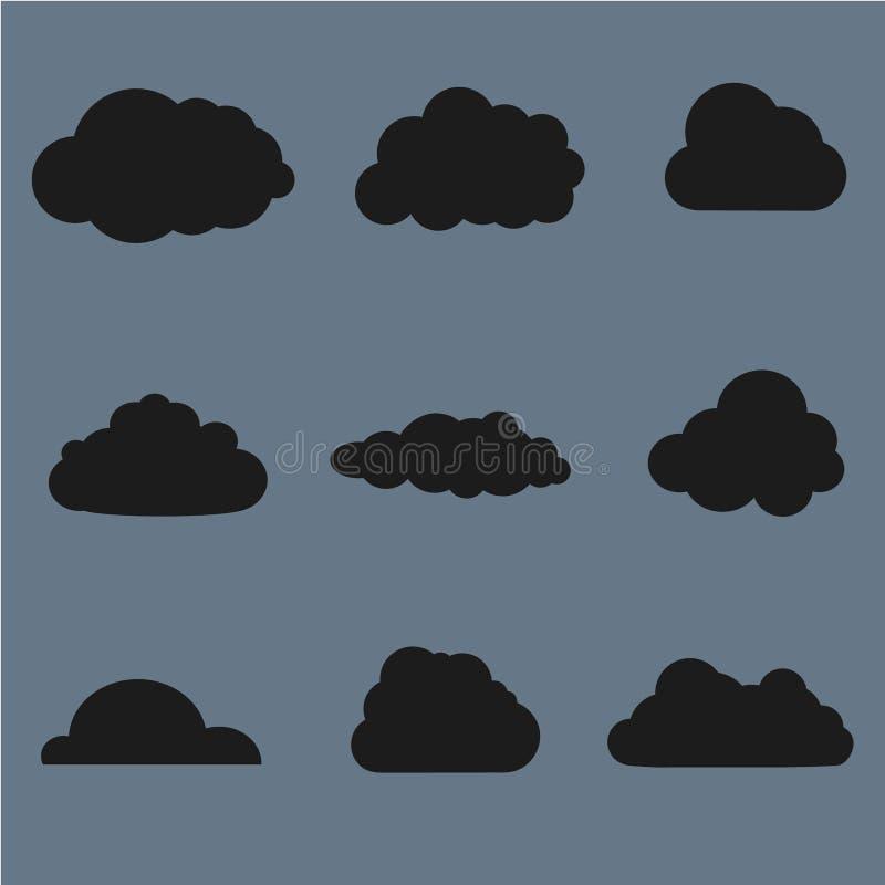Download Wektorowa Ilustracja Chmury Inkasowe Czerń Ilustracja Wektor - Ilustracja złożonej z błyszczący, błękitny: 57674877