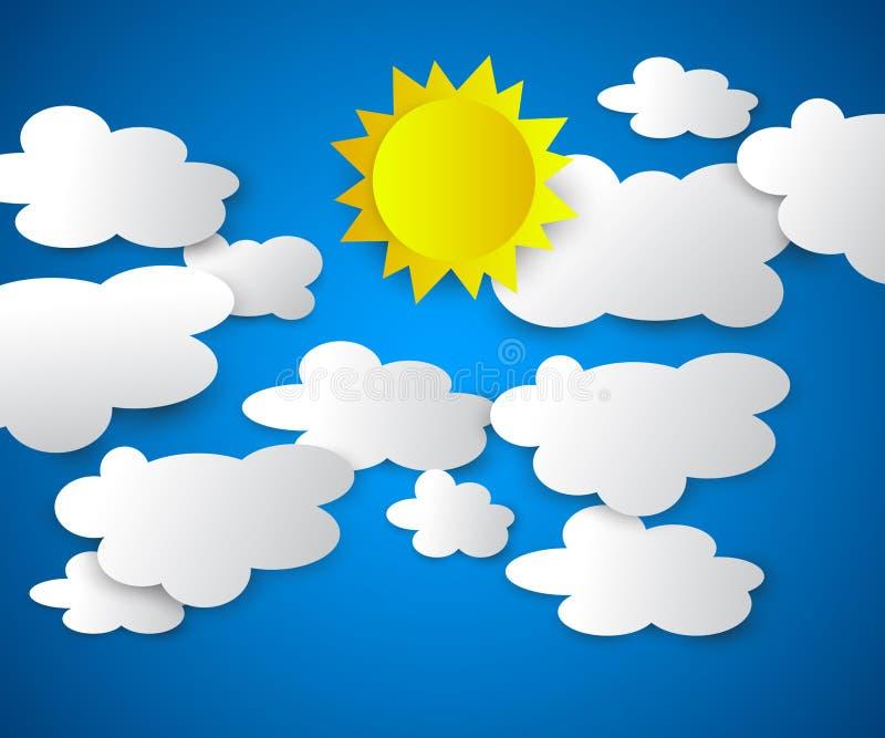 Wektorowa ilustracja chmury z s?o?cem na b??kitnym tle zdjęcie stock