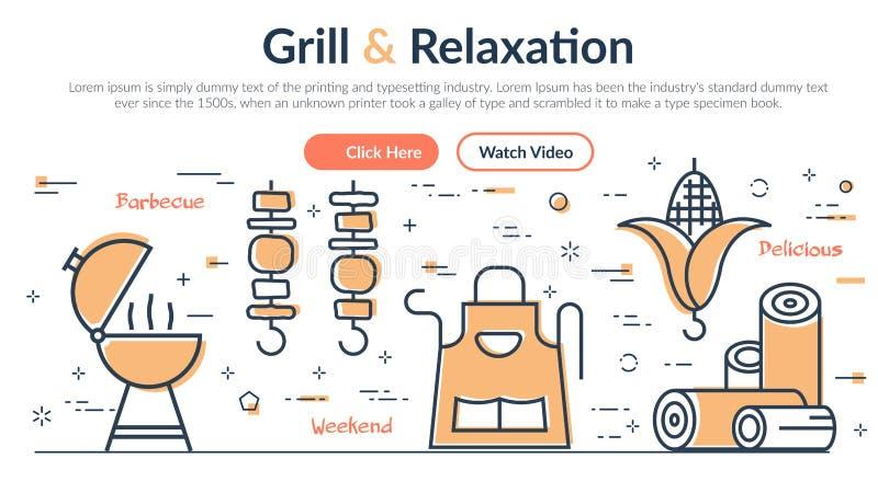 Wektorowa ilustracja chodnikowa relaks i grill ilustracji