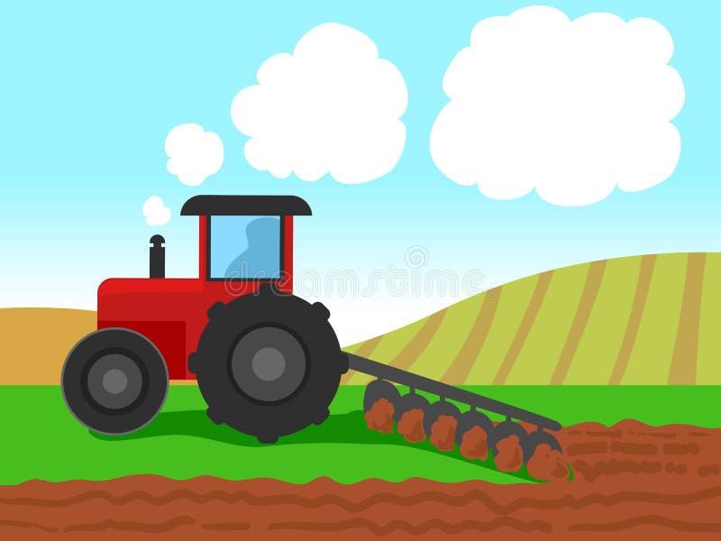 Wektorowa ilustracja Ciągnikowy oranie na Rolnym polu ilustracja wektor