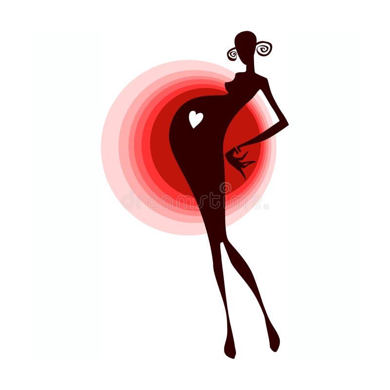Wektorowa ilustracja ciężarne żeńskie sylwetki ilustracja wektor