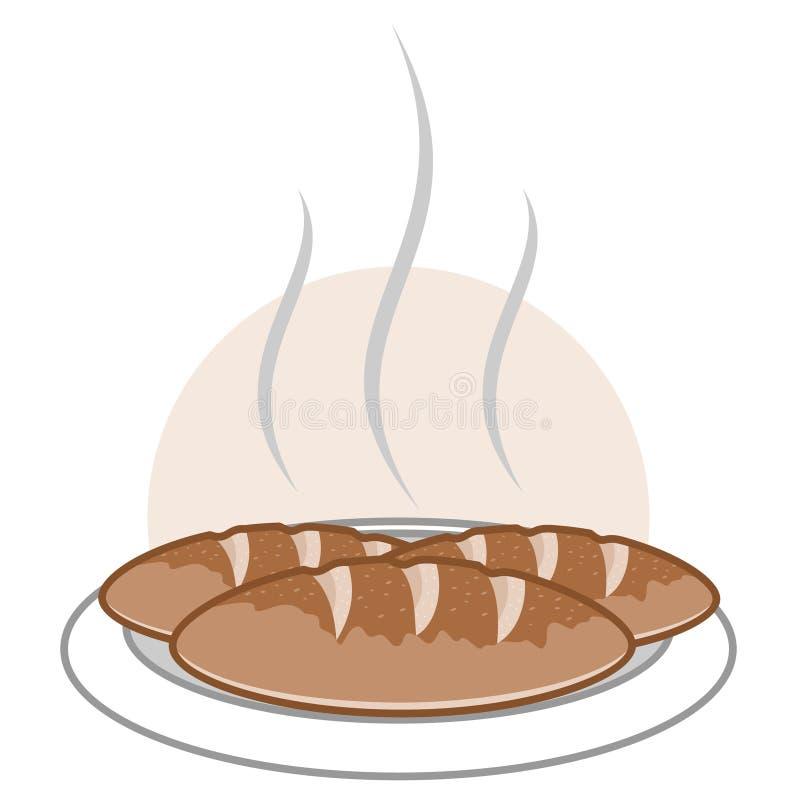 Wektorowa ilustracja ciepły białego chleba logo zdjęcie stock
