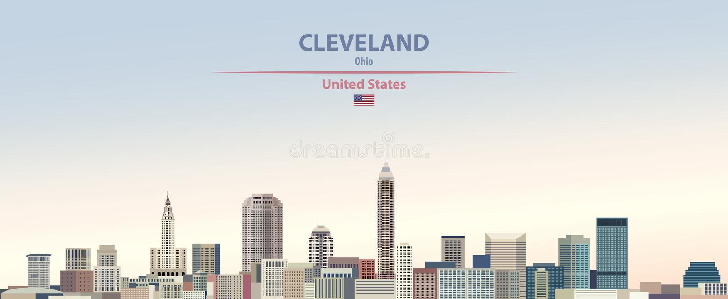 Wektorowa ilustracja Cleveland miasta linia horyzontu na kolorowym gradientowym pięknym dnia nieba tle z flagą Stany Zjednoczone ilustracja wektor