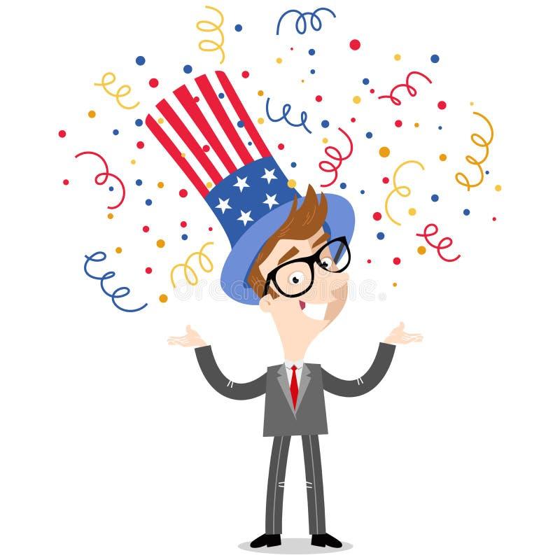 Wektorowa ilustracja confetti brać prysznić patriotycznej kreskówki Amerykańskiego biznesmena jest ubranym gwiazdy i lampasa kape ilustracja wektor