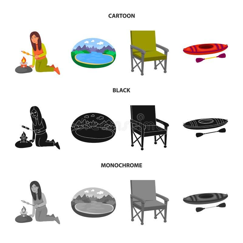 Wektorowa ilustracja cookout i przyrody ikona Kolekcja cookout i spoczynkowy akcyjny symbol dla sieci ilustracji