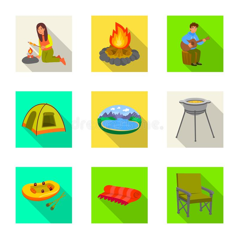 Wektorowa ilustracja cookout i przyrody logo Kolekcja cookout i spoczynkowy akcyjny symbol dla sieci ilustracji