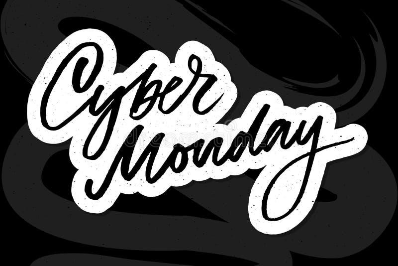 Wektorowa ilustracja Cyber Poniedziałku tekst dla karcianego sztandaru Ręcznie pisany kaligrafii Cyber Poniedziałku etykietki odz ilustracji