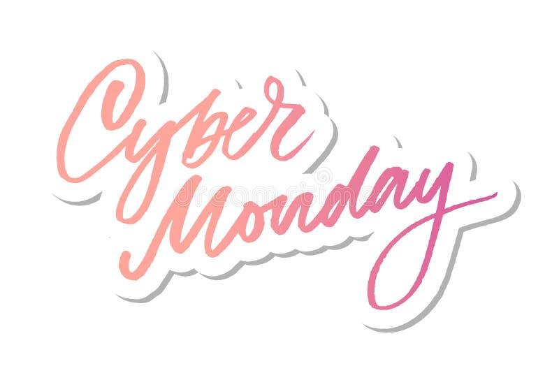Wektorowa ilustracja Cyber Poniedziałku tekst dla karcianego sztandaru Ręcznie pisany kaligrafii Cyber Poniedziałku etykietki odz royalty ilustracja