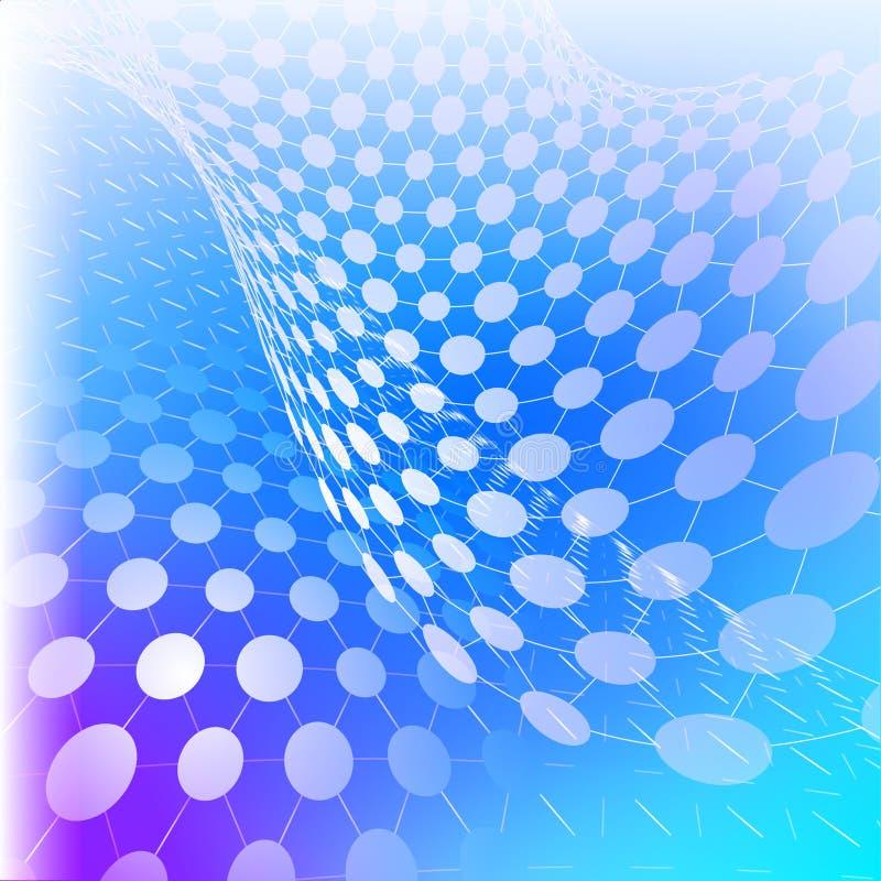 Wektorowa ilustracja cyber technologia - perspektywiczne siatki z okręgami na błękitnym tle ilustracji