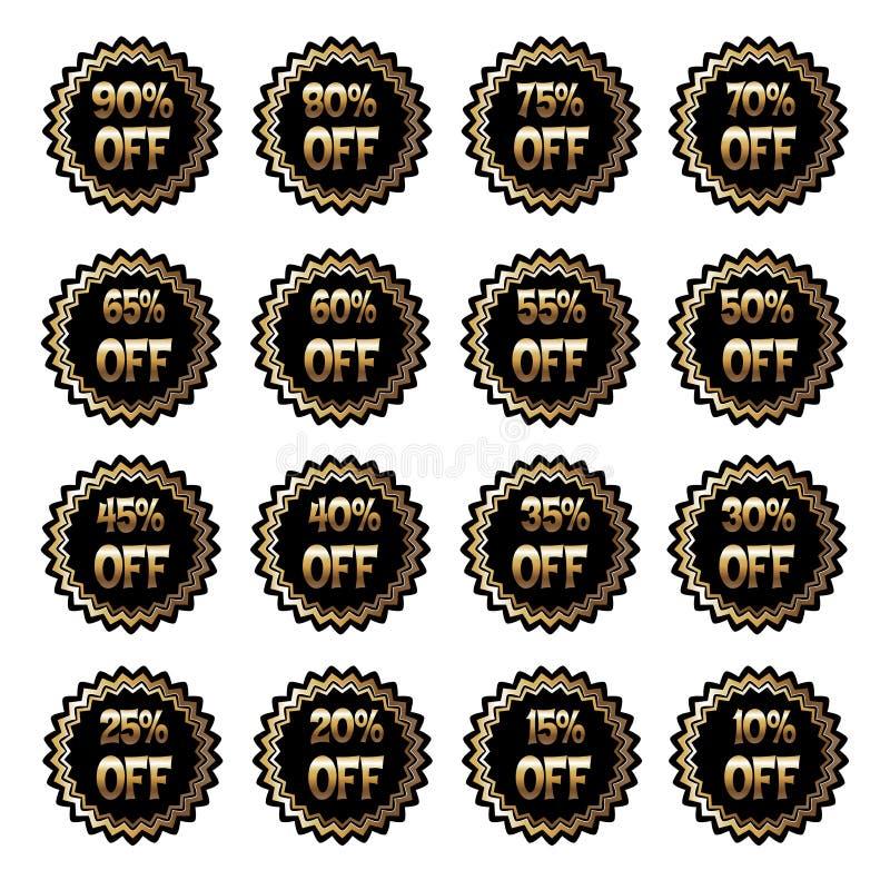 Wektorowa ilustracja czarne round etykietki z inskrypcjami sprzedaże ilustracja wektor
