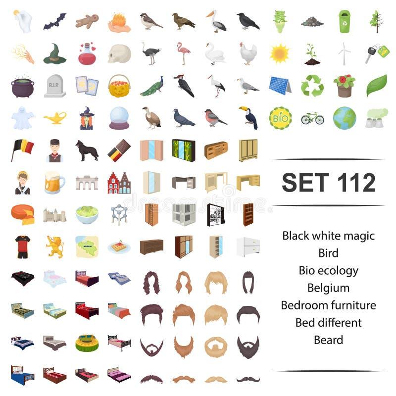 Wektorowa ilustracja czarny, biały, magiczny, ptasi, życiorys, ekologii Belgium sypialni brody ikony meblarski łóżkowy różny set ilustracja wektor