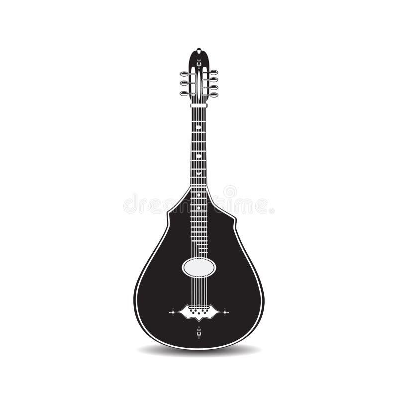 Wektorowa ilustracja czarny i biały klasyczna gitara akustyczna odizolowywająca na białym tle royalty ilustracja