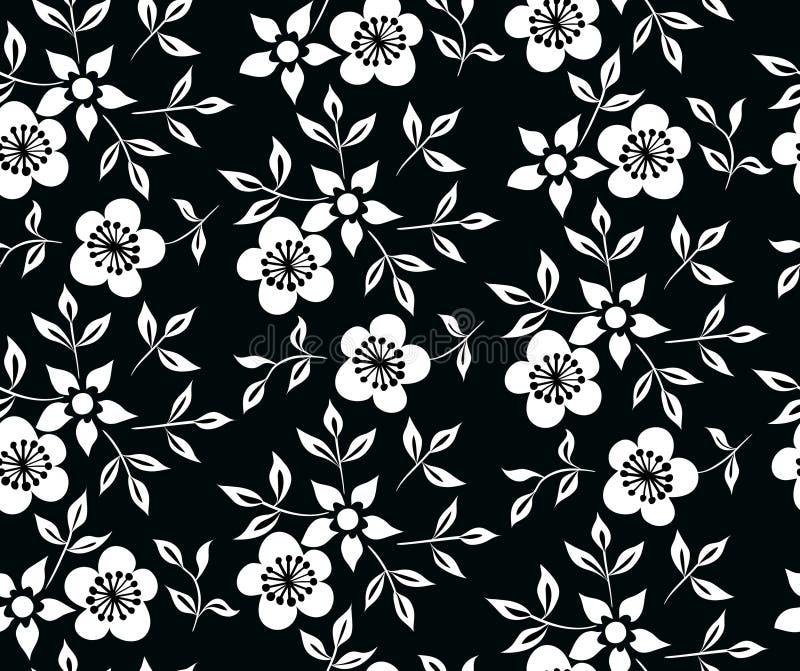 Wektorowa ilustracja czarny i biały kwiaty i liścia ornament royalty ilustracja