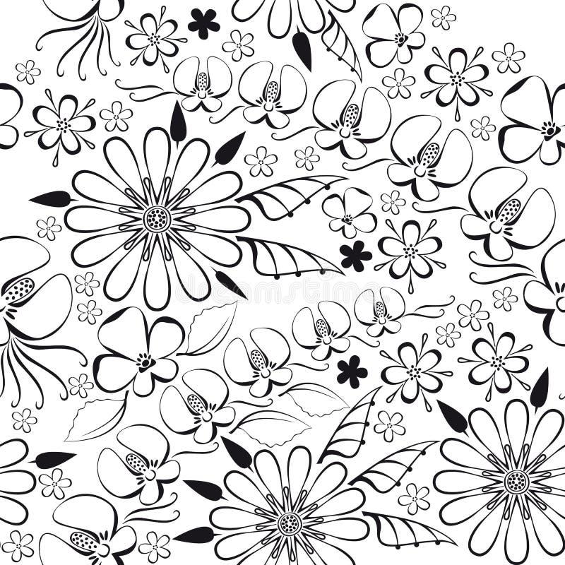 Wektorowa ilustracja czarny kwiecisty wzór ilustracja wektor