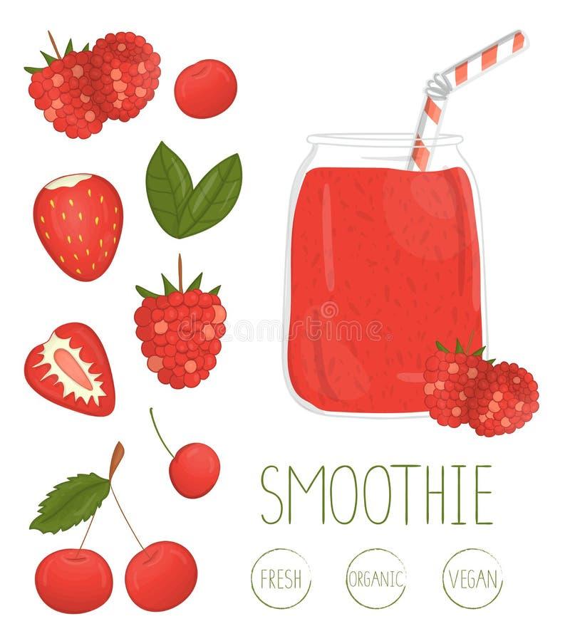 Wektorowa ilustracja czerwony jagodowy smoothie w szklanym słoju royalty ilustracja