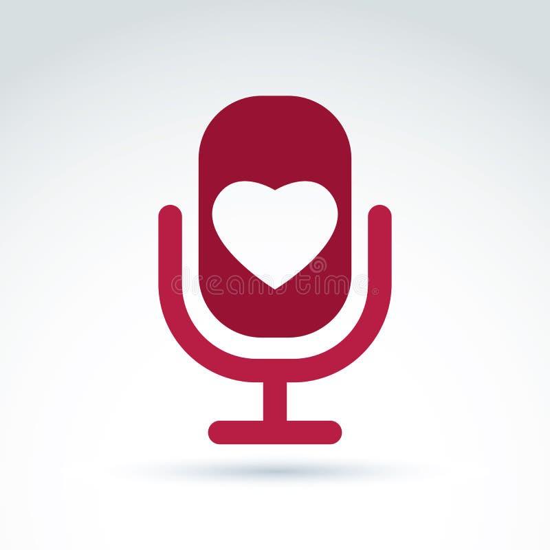 Wektorowa ilustracja czerwony mikrofon z miłość symbolem, broadcas ilustracja wektor