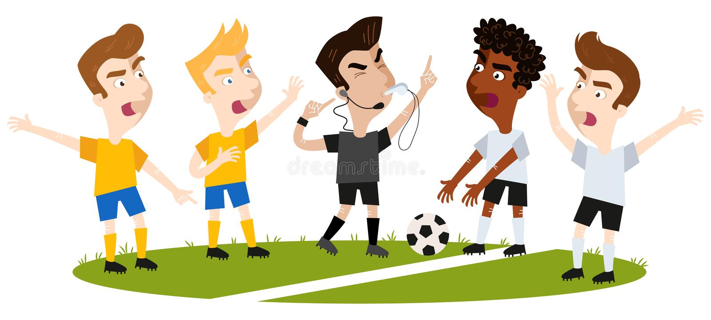Wektorowa ilustracja cztery kreskówka gracza futbolu nie zgadzać się i gestykuluje, stoi na boisku piłkarskim, arbiter przerywa ilustracji