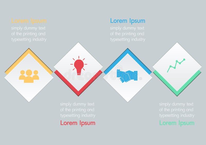 Wektorowa ilustracja cztery kwadratowej opci infographic ilustracja wektor