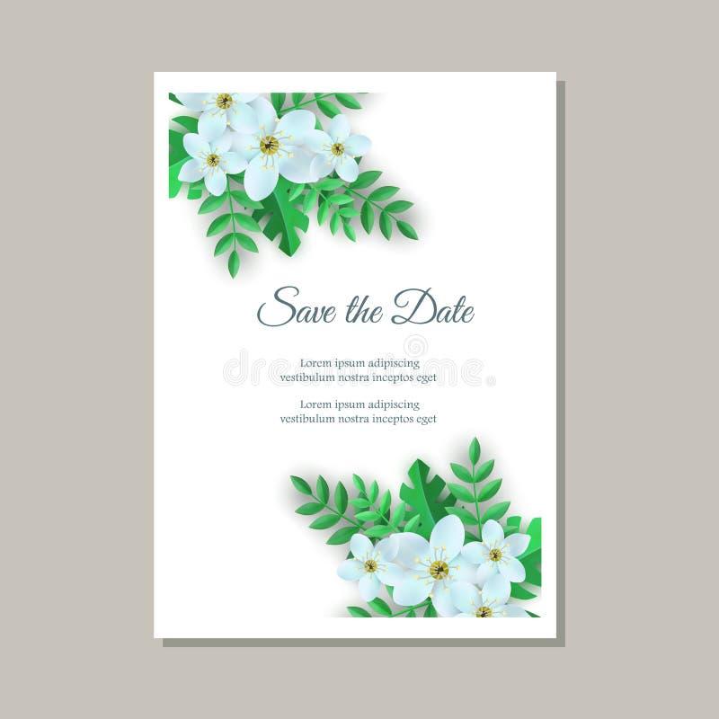 Wektorowa ilustracja czuła ślubna zaproszenie karta z kwiecistymi składami ilustracja wektor