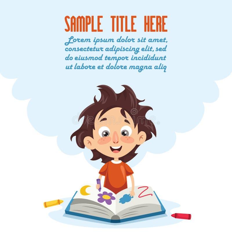 Wektorowa ilustracja Czyta BookVector ilustrację dzieciak kolorystyki książka dzieciak ilustracja wektor