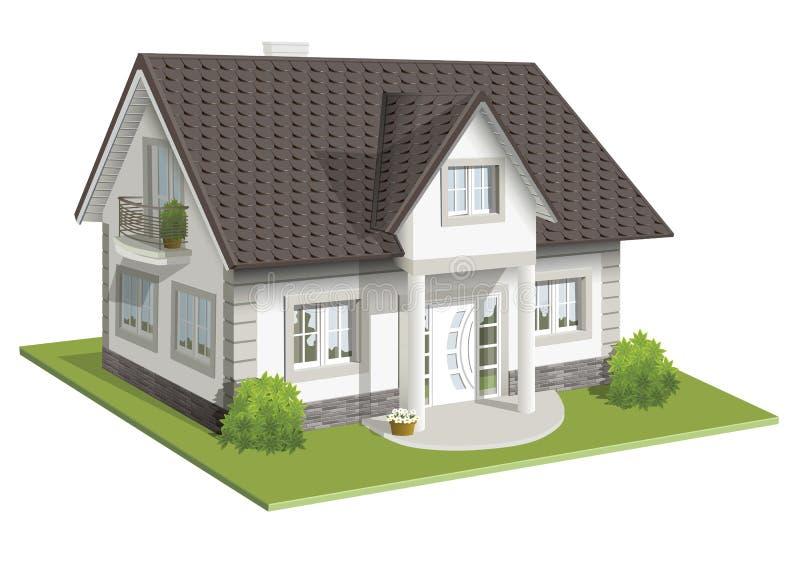 Wektorowa ilustracja 3d klasyka dom ilustracji