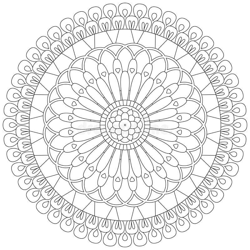 Wektorowa ilustracja dekoracyjny kwiecisty mandala dla barwić ilustracji