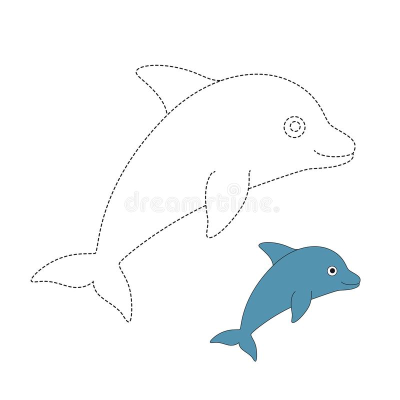 Wektorowa ilustracja delfin dla kolorystyki książki royalty ilustracja