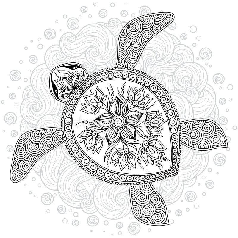 Wektorowa ilustracja denny żółw dla kolorystyki książki stron ilustracji