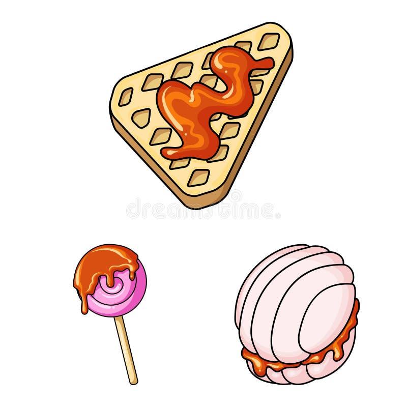 Wektorowa ilustracja deseru i cukierki znak Set deseru i zapasy ?ywno?ci symbol dla sieci ilustracja wektor