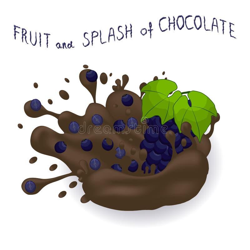 Wektorowa ilustracja dla dojrzałego jagodowego winogrona ilustracji