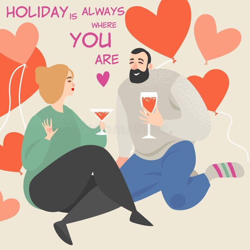 Wektorowa ilustracja dla kartki z pozdrowieniami lub sztandar z ślicznym pary obsiadaniem na pić winie i podłodze ilustracji