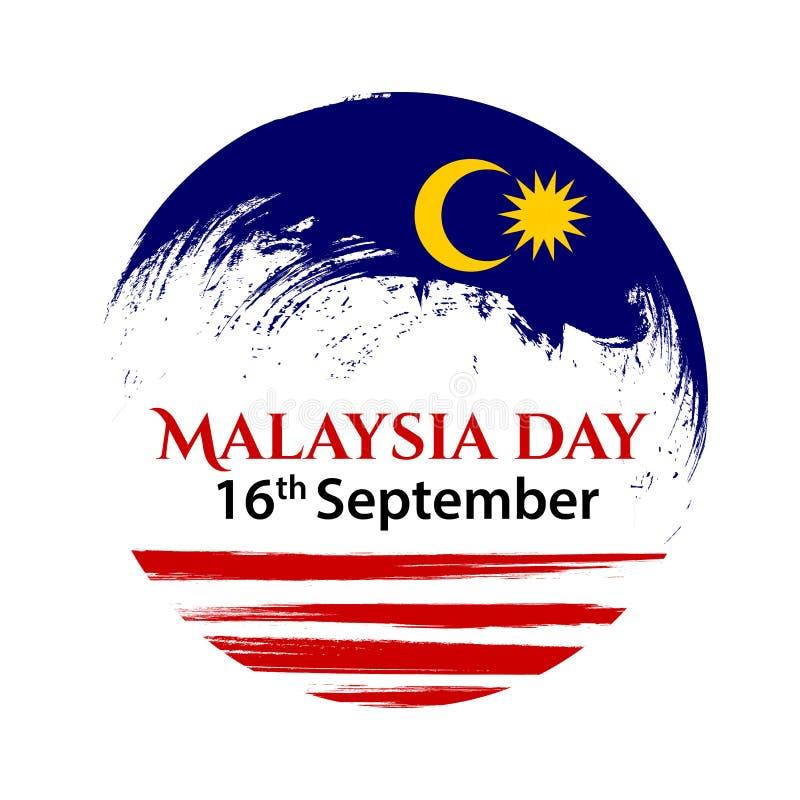 Wektorowa ilustracja dla Malezja święta państwowego, Malezja flaga w modnym grunge stylu 31 projekta Sierpniowy szablon dla ilustracji