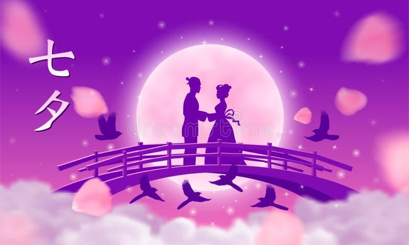 Wektorowa ilustracja dla Qixi festiwalu odświętności royalty ilustracja